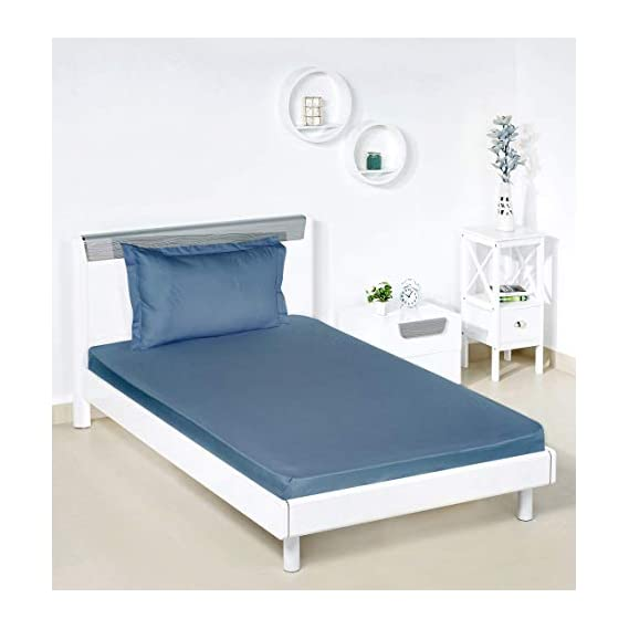 Amazon Brand - Solimo Solid 144 TC 100% Cotton Single Bedsheet with 1 Pillow Cover, Navy Blue