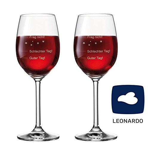 van Hoogen 2er Set - 2 Stück Leonardo Premium Weinglas | Stimmungsglas Guter Tag!, Schlechter Tag!...