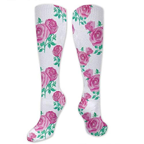 Pink Rose Polyester Cotton Over Knee Leg High Socks Personalized Unisex Thigh Stockings Cosplay Boot Long Tube Socks for Sports Gym Yoga Hiking Cycling Running Soccer
