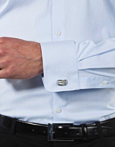 Vincenzo Boretti Herren-Hemd Body-Fit (Besonders Slim-Fit Tailliert) Uni-Farben Bügelleicht - Männer Lang-Arm Hemden für Anzug mit Krawatte Business Hochzeit Freizeit Eisblau