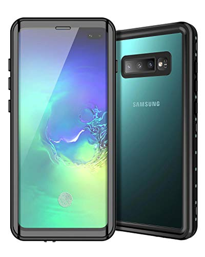Sensor-hüllen (Casetego Compatible S10 Plus Wasserdichte Hülle,[Compatible with in-Display Fingerprint Sensor] Built-in Screen Protector IP68 Certified Waterproof Case for Samsung Galaxy S10 Plus,Black/Clear)