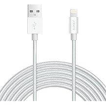 AUKEY Cavo Lightning 2m ( Apple MFi Certificato ) Cavo iPhone di Nylon Caricatore iPhone Connettore Metallico per iPhone X / 8 / 8 Plus / 7 / 7 Plus / SE / 6s / 6s Plus / 6 / 6 Plus / 5 / 5c - Argento