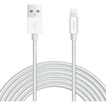 AUKEY Câble Lightning 2m [ MFi Certifié Apple ] en Nylon Câble iPhone Connecteur en Aluminium pour iPhone X / 8 / 8 Plus / 7 / 7 Plus  6s / 6s Plus / 6 - Argent