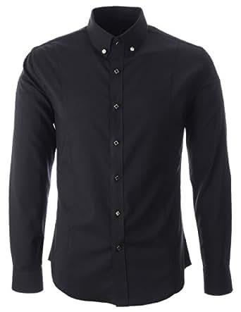flatseven chemise habill e manche longue homme bouton point carr sh470 noir xl. Black Bedroom Furniture Sets. Home Design Ideas