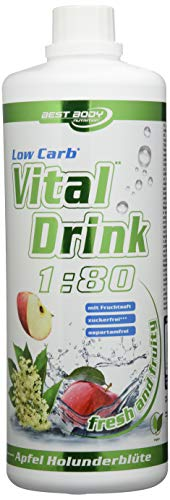Best Body Nutrition - Low Carb Vital Drink, Apfel-Holunderblüte, 1000 ml Flasche