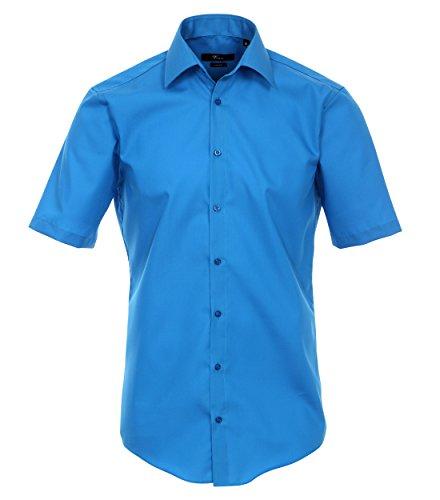 Venti - Slim Fit - Bügelfreies Herren Kurzarm Hemd in diversen Farben (001620 A) Blau (105)