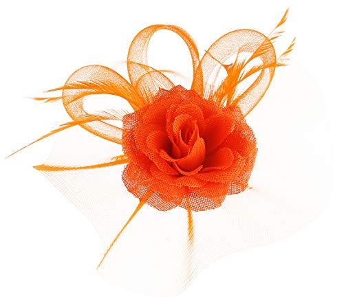 GEMVIE Damen Fascinators Hut Blumen Elegant Brauthut mit Feder Haar Clip Hut Haarschmuck Orange