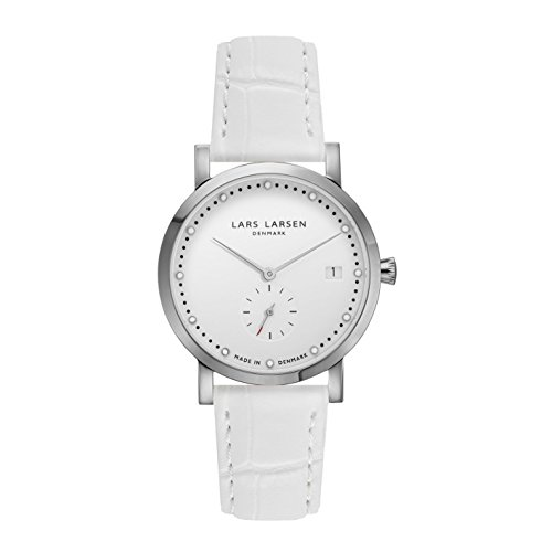 Lars Larsen Emma–Reloj de pulsera de cuarzo análogo con esfera plateada para mujer, con correa de cuero blanca 137SWWL