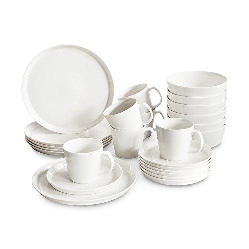 Porzellan Geschirrset Svea, Hochwertiges rundes Geschirr-Set in weiß für 6 Personen aus Fine Bone Porzellan, modernes skandinavisches Design für stilbewusste Genießer -