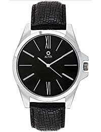 Alvin Analogue Roman Number Quartz Faux Leather Black Dial And Strap Wrist Watch For Men & Boys