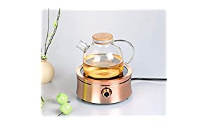 Saffron Cup Borosilicate Glass Teapot with Bamboo Lid, Heat Resistant & Transparent Carafe Kettle