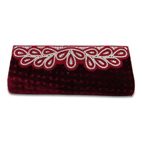 Red Velvet Strass (Red Velvet Clutch Indian Brautfrauen Hand Wristlets Zubehör Strass Totes Indien Geschenk)