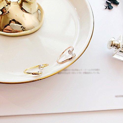 HJWMM Einfacher Europäischer Und Amerikanischer Diamantring, Goldenes Roségold Und Zwei...