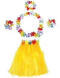 TOOGOO(R) 5Pcs New Hawaii Hula Skirt Set Handmade Grass Skirts Yellow