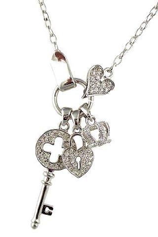 Argenté Designer Style cristal Cœur Cadenas, couronne, clé, Charm Collier Couture pour femme ado