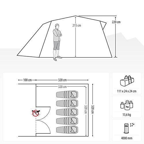 Qeedo Quick Villa 5, Sekundenzelt für 5 Personen, Familien-Zelt mit Stehhöhe - grau - 2