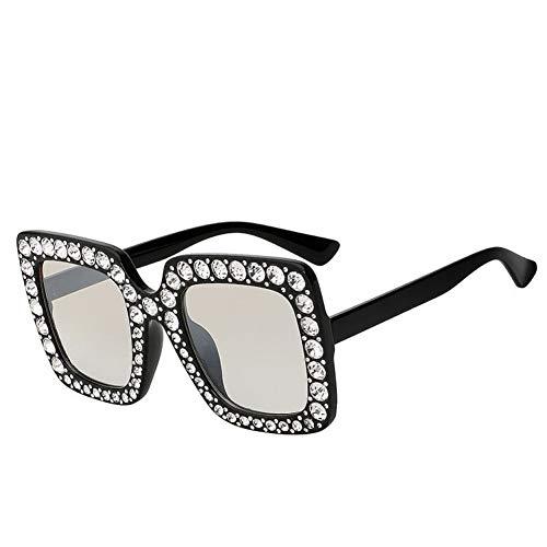 Shihuam Sonnenbrille Für Frauen Crystal Rim Frauen Sonnenbrille Retro Desginer Square Oversize Sun Glasses,Schwarz w klar Crystal Rim