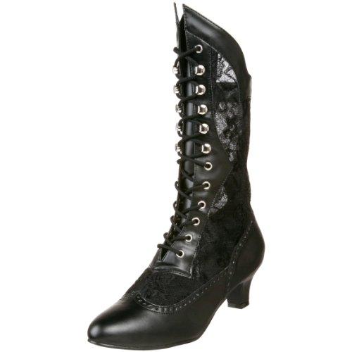 Pleaser Dame115/b/pu, Damen Stiefel, Schwarz (Black), 40.5 EU (Schuhe Stiefel Viktorianische)