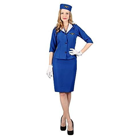 (S) Ladies Pan Am Hostess Costume for Airline Pilots Crew Fancy Dress Womens