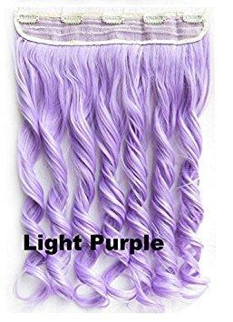 mybeantore 50,8cm (50cm) Gelockt Clip in Kunsthaar Extensions 100g One-teiliges hitzebeständig wie Echthaar Light Purple Farbe (Hair Light Purple Extensions)