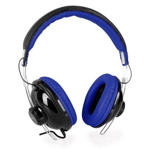 Image of Vieta VHP-YO300BL Over Ear Surround-Kopfhörer Stereo Kopfhörer mit ultraweicher Leder-Polsterung (Polster an Ohr-und Bügel, Größe verstellbar, Kopfhörer mit Kabel) blau-schwarz