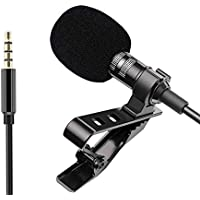 AUfers 3.5mm Mic Clip Digital Noise Cancellation Collar Mic Condenser For Youtubers, Interviews, Lectures, News, Travel…