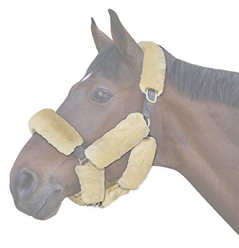 ECP Equine Komfort Produkte ECP Merino Lammfell Halfter Fleece Set für Pferd Schutz und Relief, 9-Teilig, Cremefarben -