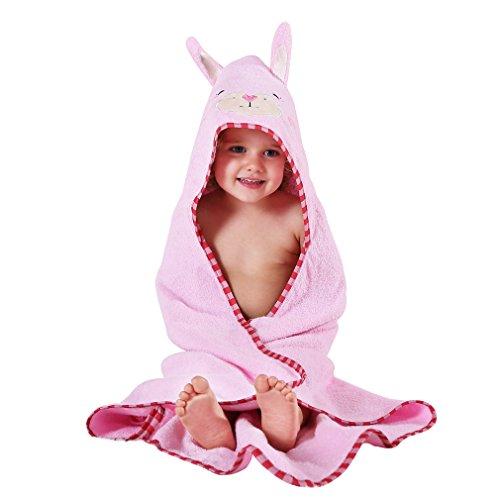 MICHLEY Kinder Mit Kapuze Babe Bad Handtuch,Tier Ärmellos Baumwolle Bademantel Für Kumpels Mädchen 0-6 Jahr(Hell-Pink)