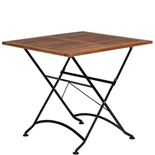 Butler-möbel (BUTLERS Parklife Gartentisch aus Holz 80x80x75 cm - Balkon-Tisch aus FSC-Akazienholz und Metall schwarz verzinkt - Holztisch für Balkon oder Terrasse)