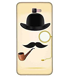 For Samsung Galaxy A3 (2017) tabacco pipe ( tabacco pipe, hat, muchh, yellow backgound ) Printed Designer Back Case Cover By FashionCops