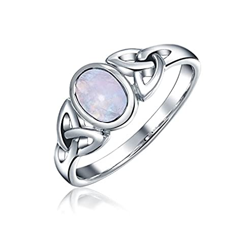 925 Silver Celtic Triquetra Moonstone Knot Ring