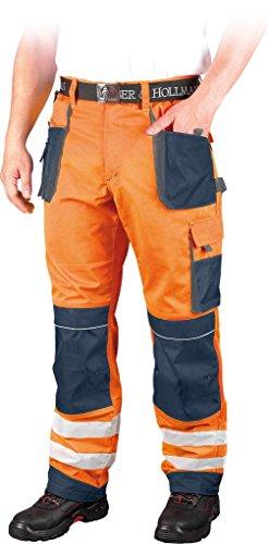 MP-Store Warnschutzhose mit Reflektionsstreifen orange neon gelb Arbeitshose Warnschutz Reflektionsstreifen (Orange/Blau, 50)