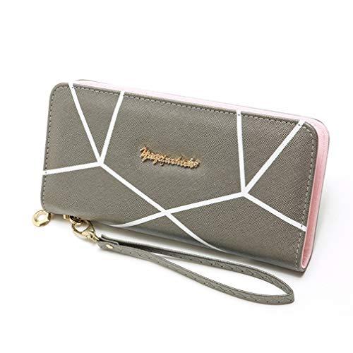 LIXIAQ1 Brieftasche mit geometrischem Muster und langem Lanyard-Reißverschluss - Zurück Zip Kupplung