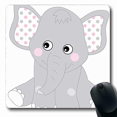Luancrop Mousepads Grauer afrikanischer Netter Baby-Elefant-Rosa Elephnat-Mädchen-Geburtstags-Entwurfs-Punkt-rutschfeste Spiel-Mausunterlage Gummilangmatte - Grauer Elefant Baby Dekorationen