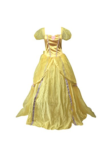 Emmas Garderobe Gelb Prinzessin-Kleid-Kostüm - Enthält Kleid und passende ellbogenlange Handschuhe - Frauen-Märchen Halloween-Kostüm - Made mit UK Größen 8-16 (Frauen: 14, Gelb) (Women: 40, Yellow)