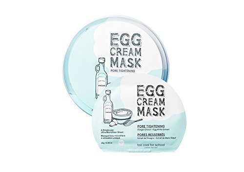 egg pore Too Cool For School Egg Cream Pore Tightening Mask Pack (5pcs) 2016 Upgrade by too cool for school