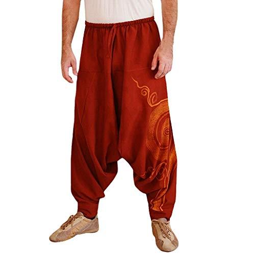 Deep lovly Männer Hosen Freizeit Mode Hosen Lose Groß Nationaler Stil Hosen Yogahosen Baumwolle und Leinen Hip-Hop-Hosen Einfarbig Weite Hose Hohe elastizität Sporthosen -