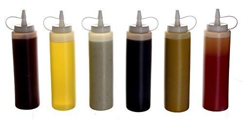 Oaklyn bottiglie di plastica di condimenti a goccia con coperchi (confezione da 6) 14 oz. trasparente
