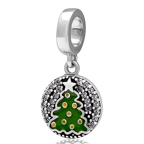 Soulbead pendenti in argento Sterling 925, con albero di Natale con zirconia cubica trasparente per 3mm bracciale o collana