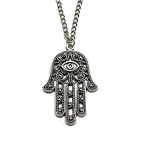 GOOD.designs Damen - Halskette mit Hand der Fatima (Hamsa) Anhänger, hand of fatima in Gold, (Acciaio Inossidabile Nero Gemma)