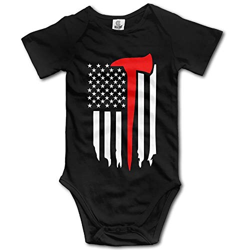 TKMSH Thin Red Line Firefighter Axe Boy's & Girl's Short Sleeve Jumpsuit Outfits Black