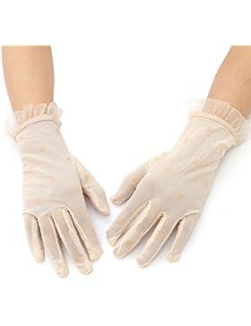 OULII Las mujeres verano encaje guantes corto sol Uv protección guantes (Beige) de conducción