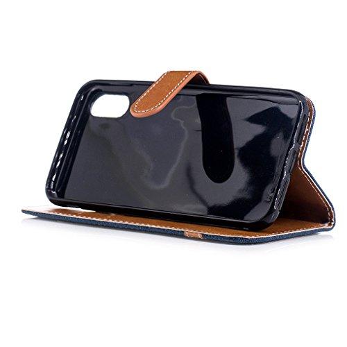 Apple iPhone 8 Hülle, SATURCASE Prämie Jeans Stil PU Lederhülle Ledertasche Magnetverschluss Flip Cover Brieftasche Case Handy Tasche Schutzhülle Handyhülle mit Standfunktion Kartenfächer und Handschl Marine