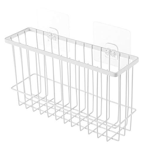 LY/WEY Self Adhesion Storage Basket Kitchen Iron Wire Basket Bin Storage Organizer Student Dormitory Storage Baskets,White