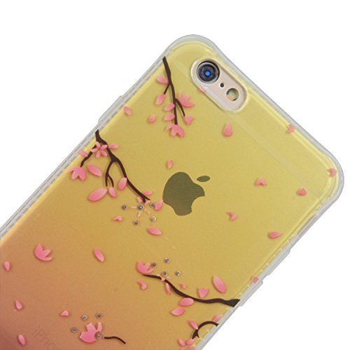WE LOVE CASE iPhone 6 / 6s Hülle Weich Silikon iPhone 6 6s Schutzhülle Handyhülle Im Transparent Durchsichtig Glitzern Funkeln Diamant Sand Muster Handytasche Cover Case Etui Soft TPU Handy Tasche Sch Kirsche