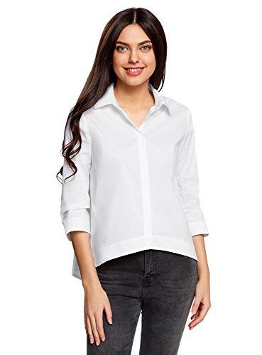 oodji Ultra Damen Lässige Bluse mit Langem Rücken Weiß (1000N)