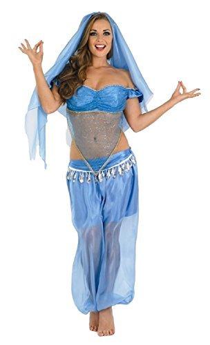 Arabische Prinzessin Bauchtänzerin Jasmin Kostüm Kleid Outfit UK 8-18 - Blau, 12-14 (Bauchtänzerin Kostüme Kleid)