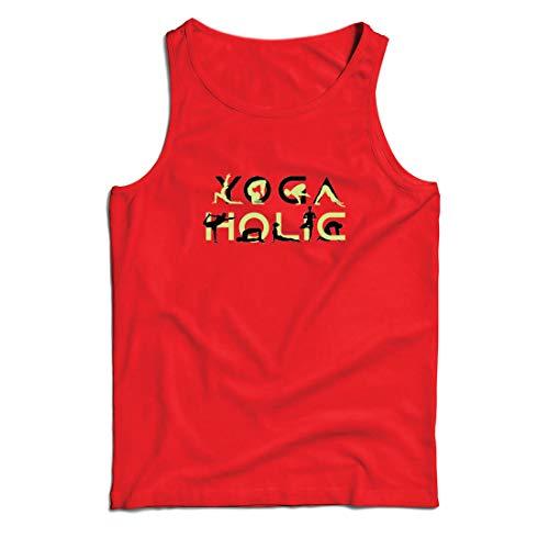 lepni.me Weste Yoga Holic, Positive Vibrationen, motivierende Workout-Zitate, Yogi-Liebhaber-Geschenk (Medium Rot Mehrfarben)
