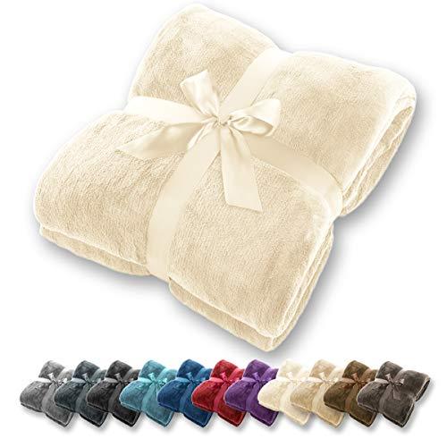 Gräfenstayn® Kuscheldecke - verschiedene Größen und Farben - Microfaserdecke Wohn-Decke Tagesdecke - Flanell Mikrofaser-Flausch (Creme, 240x220 cm) -