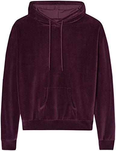 FIND Hoodie Damen meliert, aus Velours, Rot (Burgundy), 40 (Herstellergröße: Large) - 4